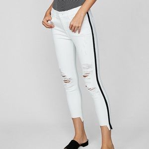 Express white side stripe distressed skinny jeans